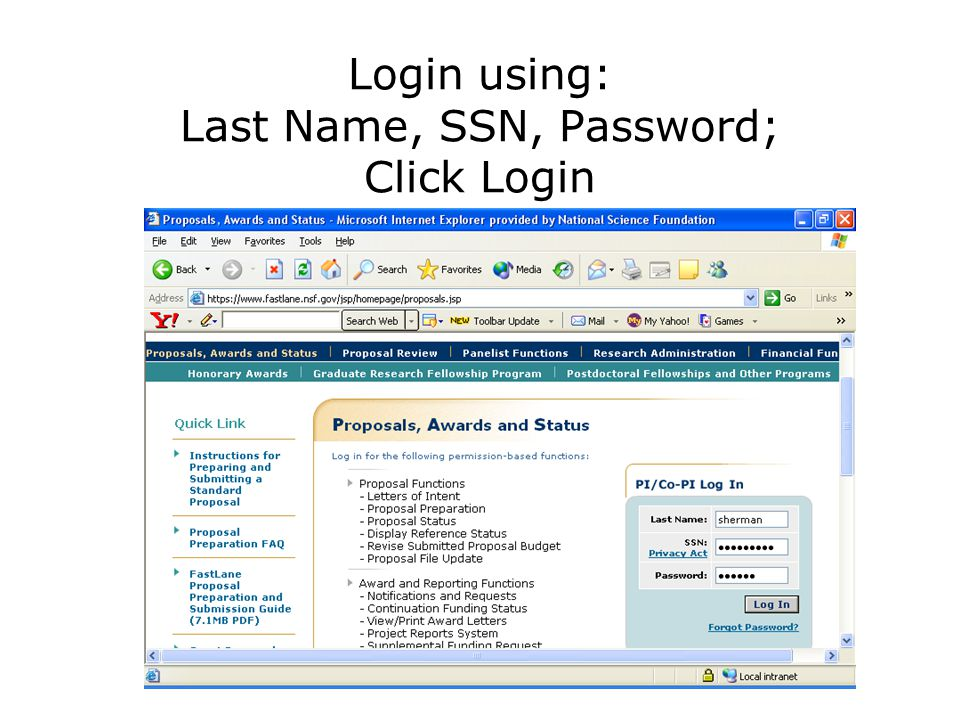 Login using: Last Name, SSN, Password; Click Login