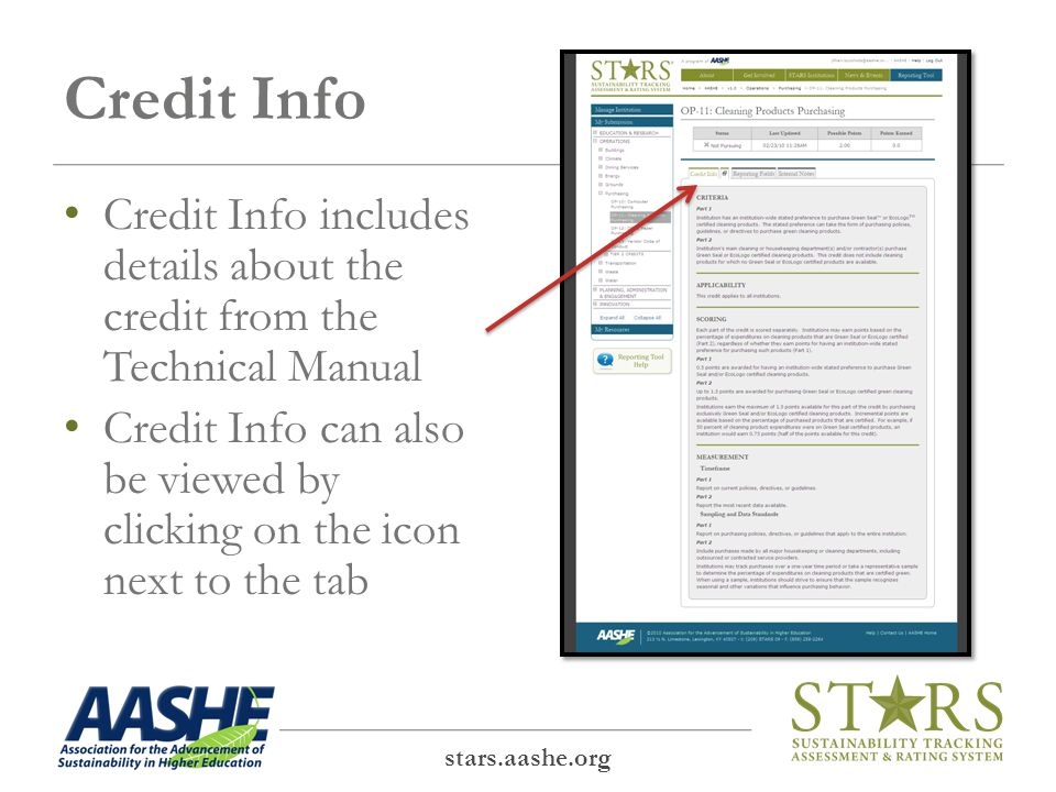 Credit Info stars.aashe.org Credit Info includes details about the credit from the Technical Manual Credit Info can also be viewed by clicking on the icon next to the tab