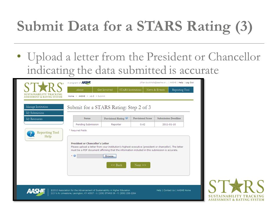 Submit Data for a STARS Rating (3) Upload a letter from the President or Chancellor indicating the data submitted is accurate