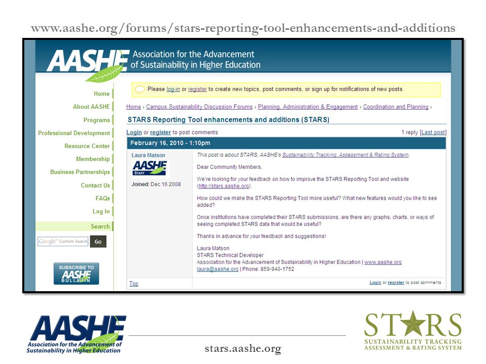 www.aashe.org/forums/stars-reporting-tool-enhancements-and-additions stars.aashe.org