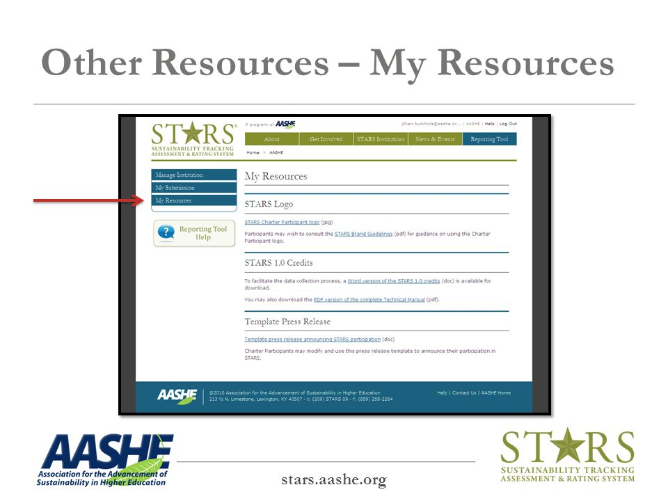 Other Resources – My Resources stars.aashe.org