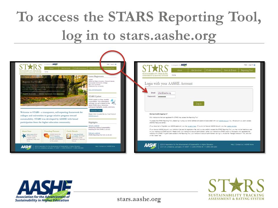 To access the STARS Reporting Tool, log in to stars.aashe.org stars.aashe.org