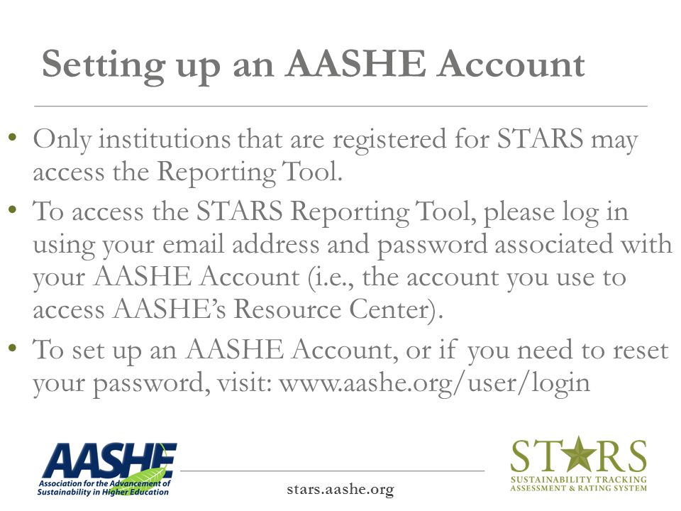 Help Text stars.aashe.org Additional help text is included throughout the site.
