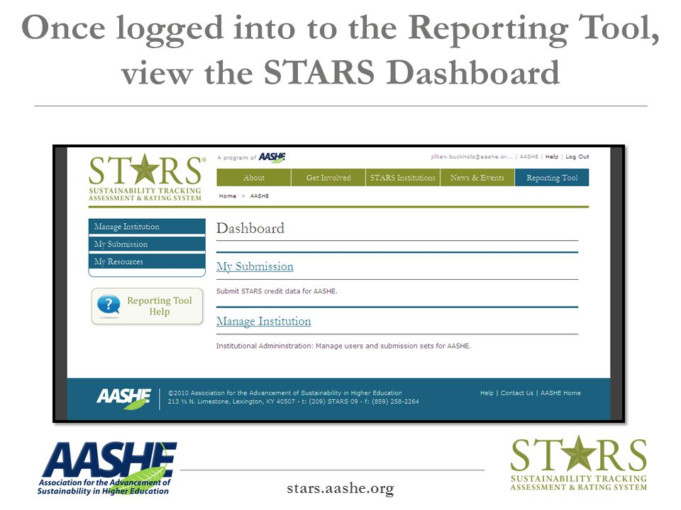 Once logged into to the Reporting Tool, view the STARS Dashboard stars.aashe.org