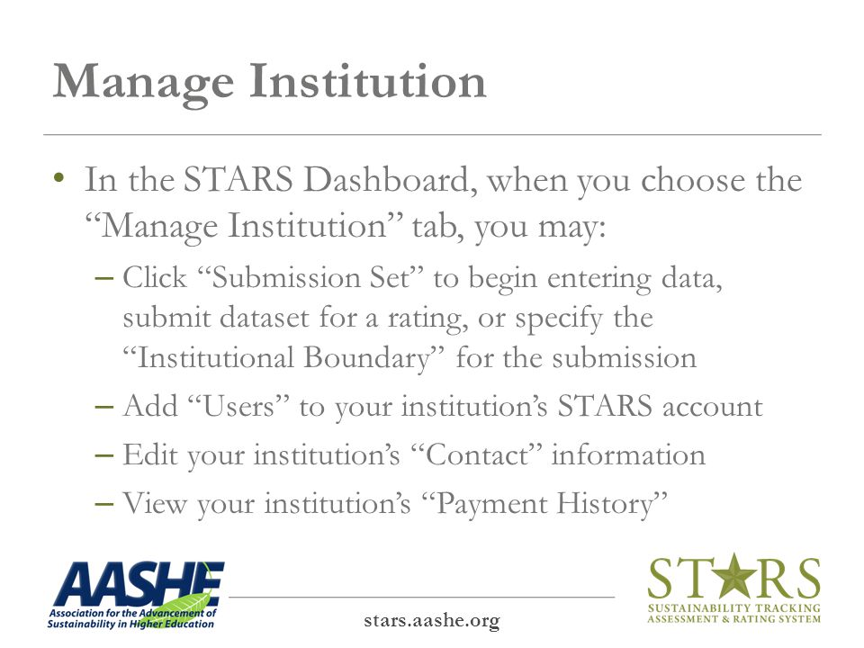 In the submission set, determine your institutional boundary stars.aashe.org