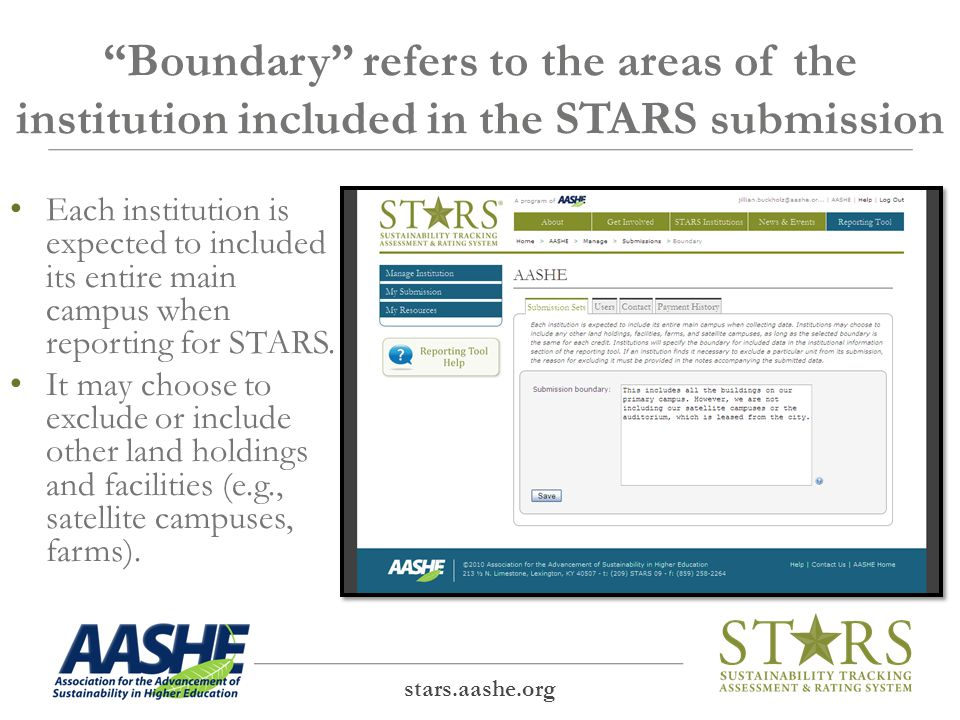 Administrators may add users to the institution's STARS Account stars.aashe.org