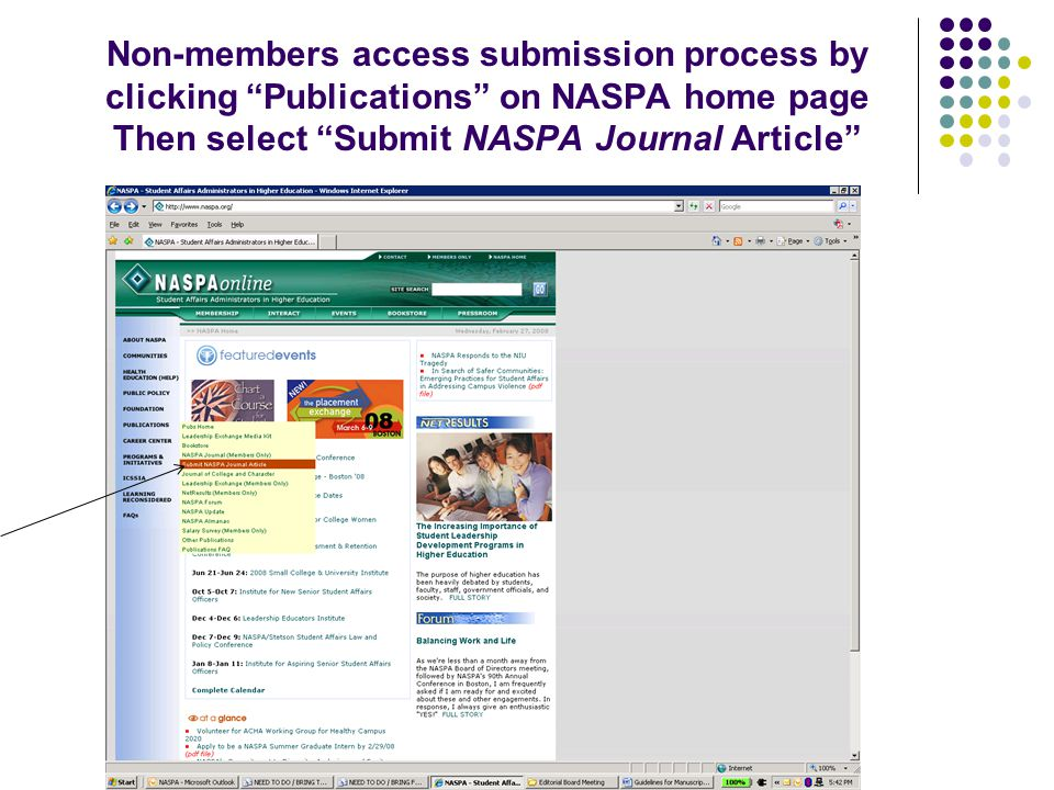 Non-members access submission process by clicking Publications on NASPA home page Then select Submit NASPA Journal Article