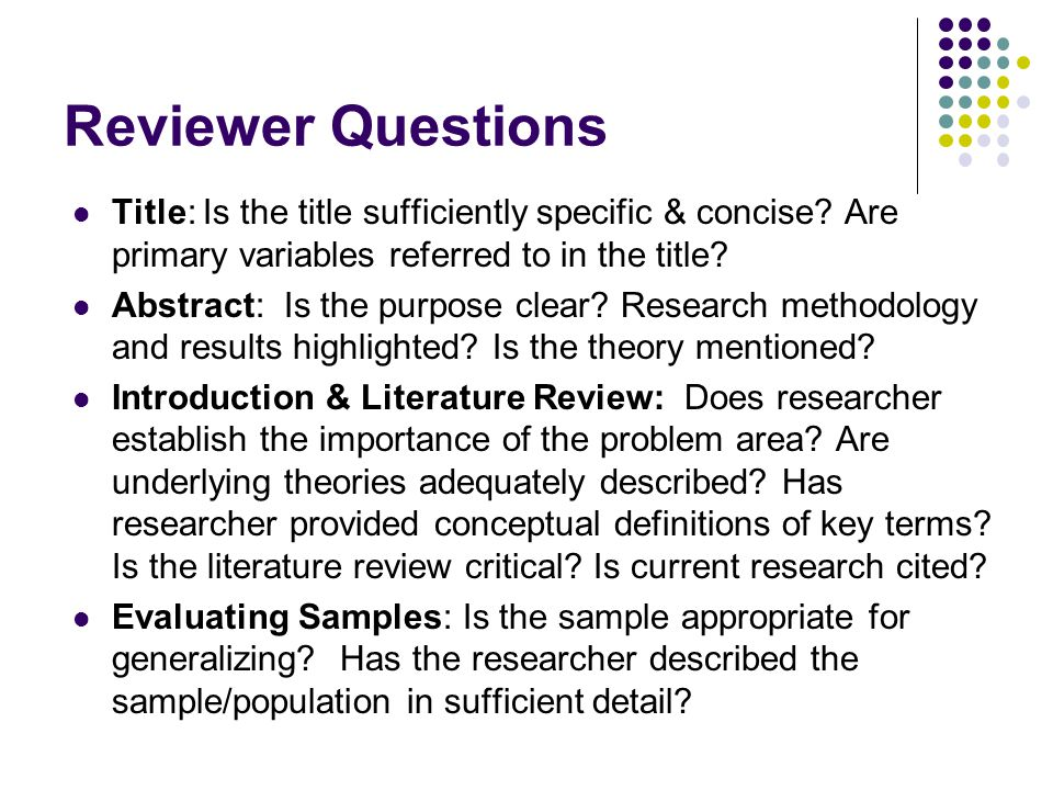 Reviewer Questions Title: Is the title sufficiently specific & concise.