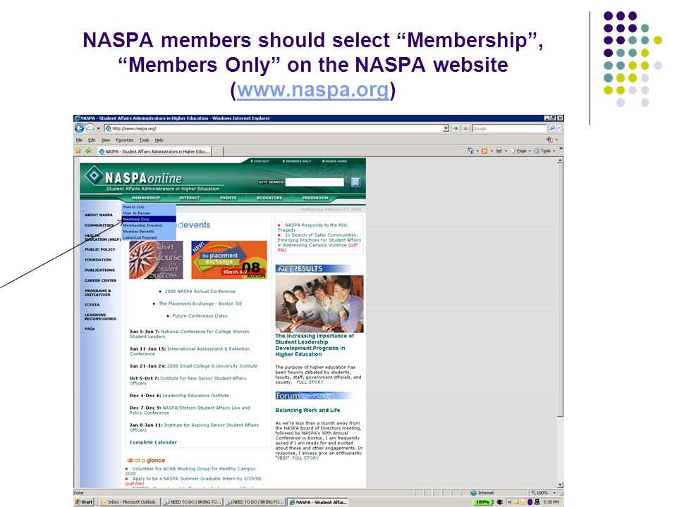 NASPA members should select Membership , Members Only on the NASPA website (www.naspa.org)www.naspa.org