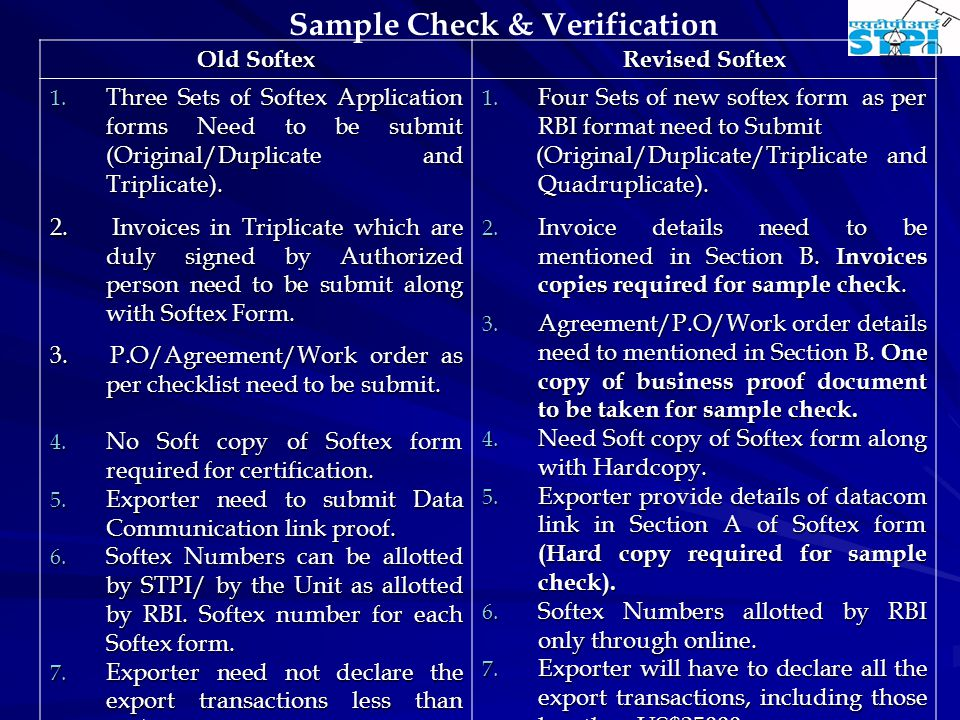Sample Check & Verification Old Softex Revised Softex 1.