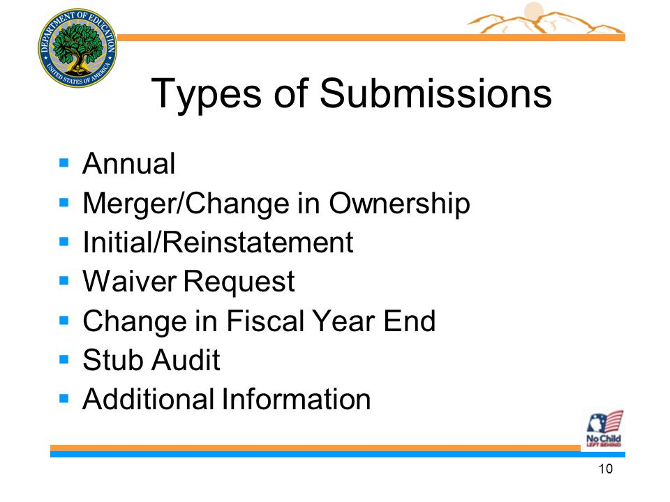 10 Types of Submissions  Annual  Merger/Change in Ownership  Initial/Reinstatement  Waiver Request  Change in Fiscal Year End  Stub Audit  Additional Information