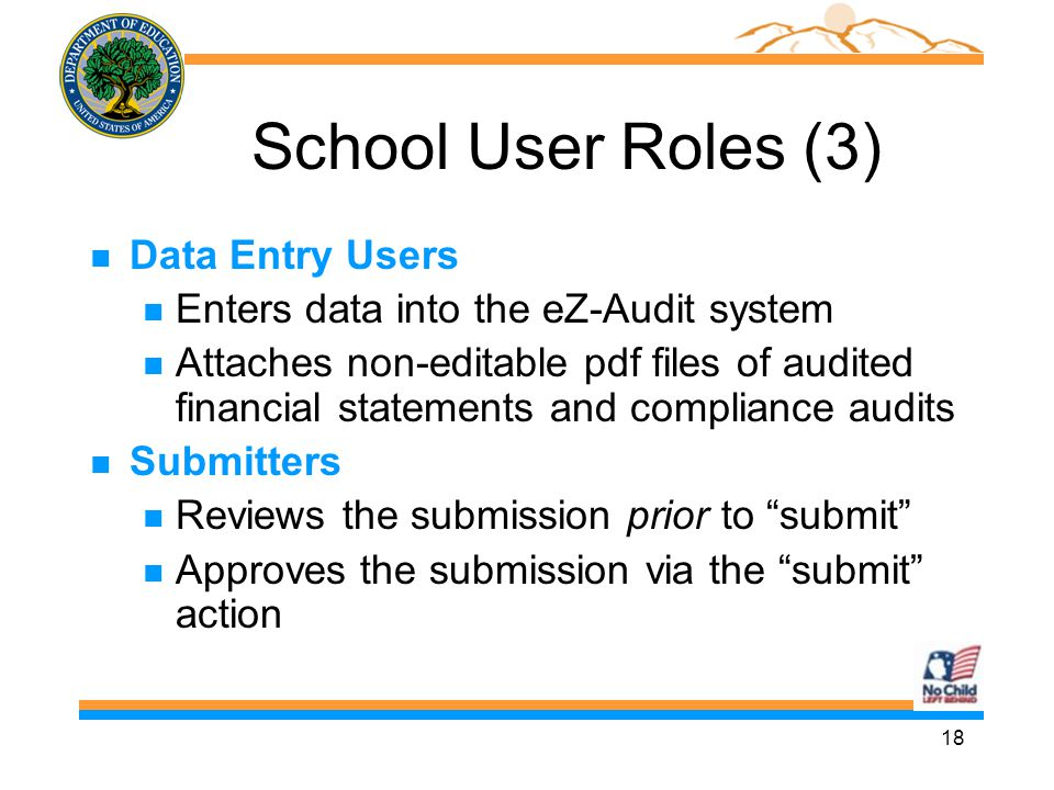 18 School User Roles (3) n Data Entry Users n Enters data into the eZ-Audit system n Attaches non-editable pdf files of audited financial statements a