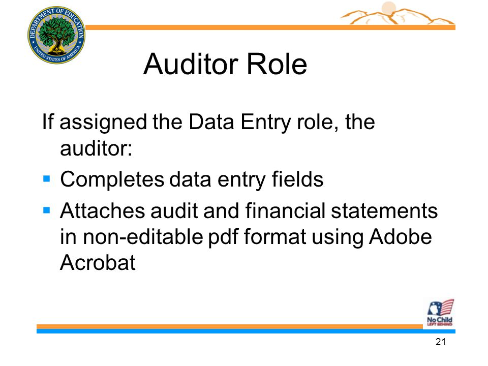 21 Auditor Role If assigned the Data Entry role, the auditor:  Completes data entry fields  Attaches audit and financial statements in non-editable