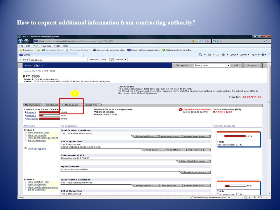 How to request additional information from contracting authority !