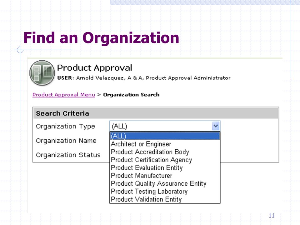 10 An Overview of the Product Approval Menu 1.