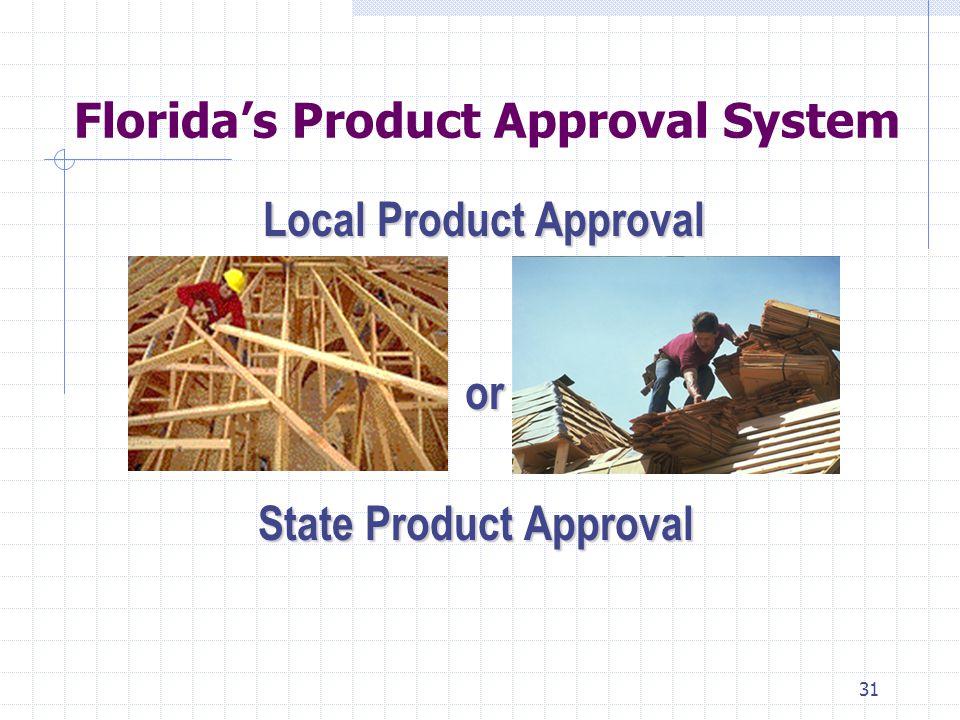 30 Florida Building & Product Approval Law Florida Statutes (F.S): Section 553.73 Florida Building Code Section 553.74 Florida Building Commission Section 553.842 Product Evaluation & Approval Florida Senate Bill (SB) 442 - 2005 Legislature Florida Administrative Code (F.