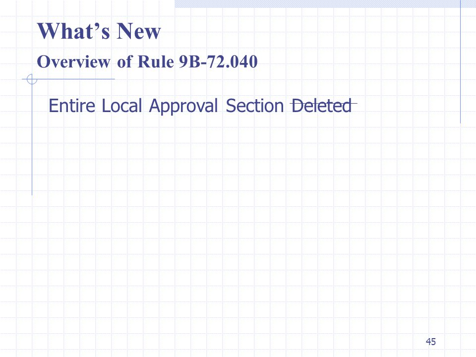 44 What's New Overview of Rule 9B-72.030 Exceptions (Title Change) Product that have prescriptive specification standards and are manufactured under Quality Assurance procedures as specified in the Code will be deemed approved.