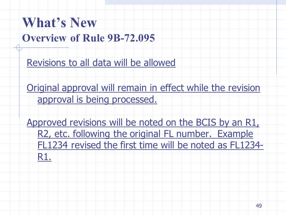 48 What's New Overview of Rule 9B-72.090 Fee Changes were made as follows: Entity Revision Fee$100 Product Approval Revision Fee$300 Editorial Revision Fee$100 Affirmation Revision Fee$50