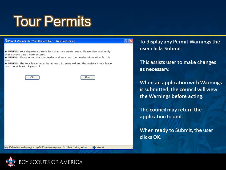 To display any Permit Warnings the user clicks Submit.