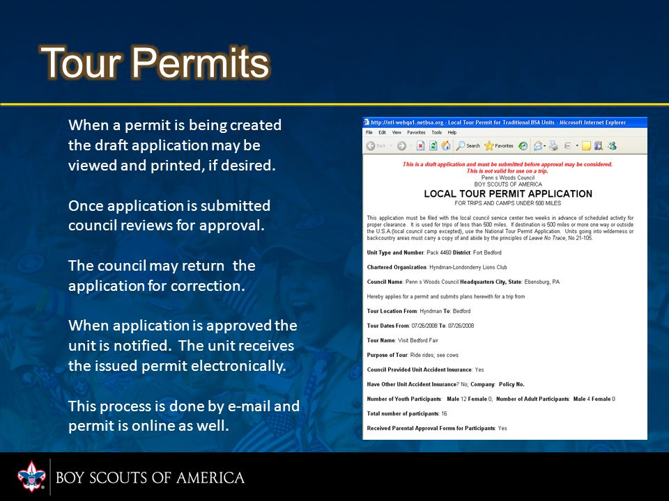 When a permit is being created the draft application may be viewed and printed, if desired.