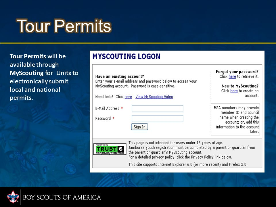 Tour Permits will be available through MyScouting for Units to electronically submit local and national permits.