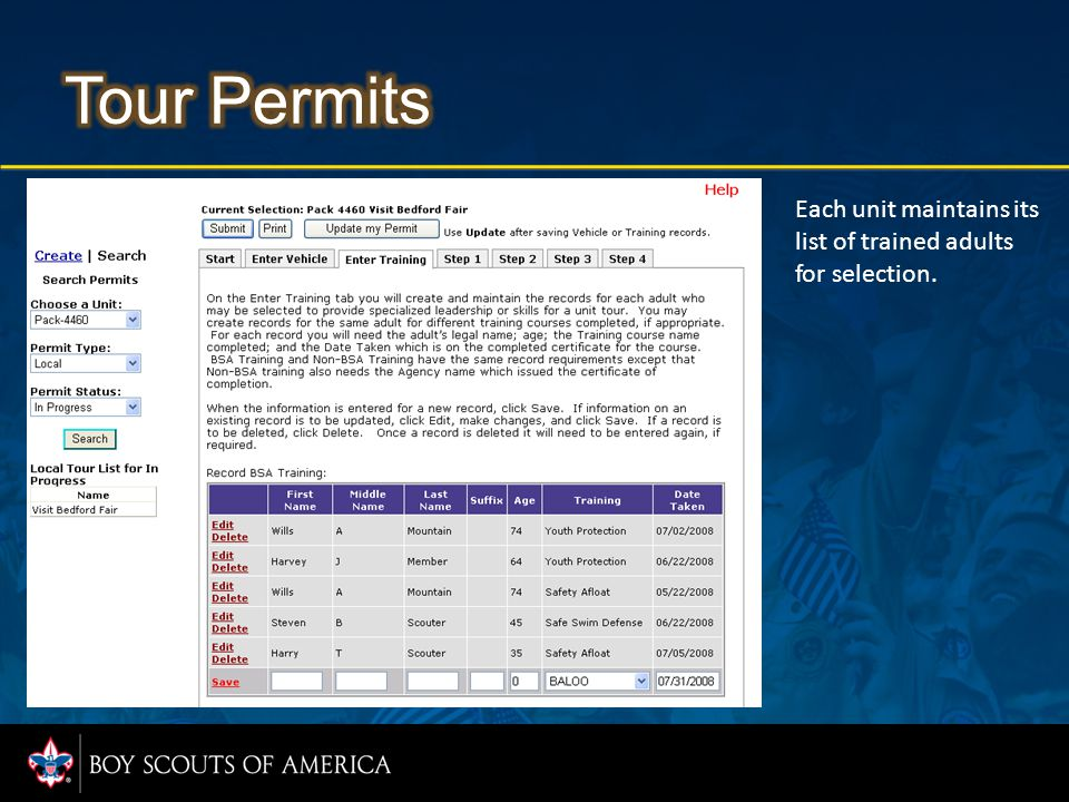 Step 1 information entered for Tour Permits will be guided by easy to complete data fields.