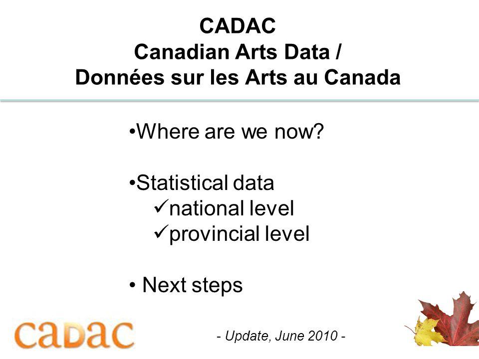 1 CADAC Canadian Arts Data / Données sur les Arts au Canada Where are we now? Statistical data national level provincial level Next steps - Update, Ju