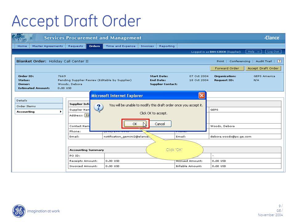50 / GE / November 2004 Add Supplier User Click Create Supplier User