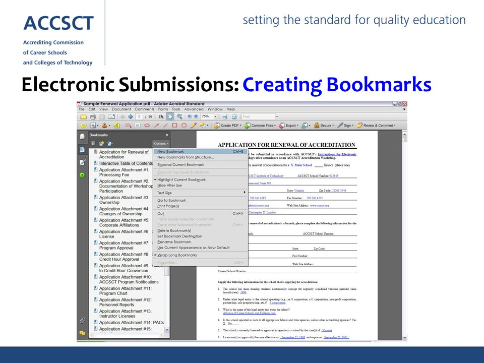 Electronic Submissions: Creating Bookmarks