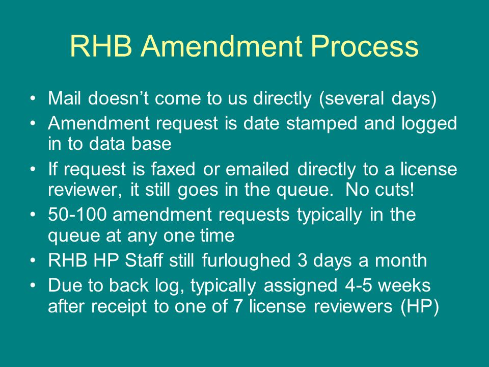 RHB Amendment Process (cont.) HP reviews amendment request and pulls license file Quality submittal.