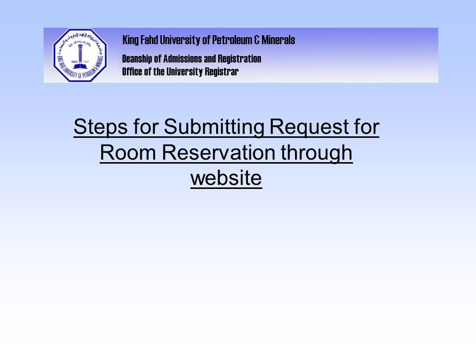 Steps for Submitting Request for Room Reservation through website