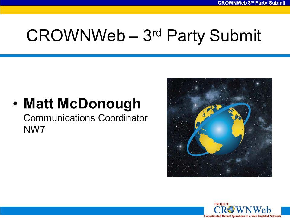 CROWNWeb 3 rd Party Submit CROWNWeb – 3 rd Party Submit Matt McDonough Communications Coordinator NW7