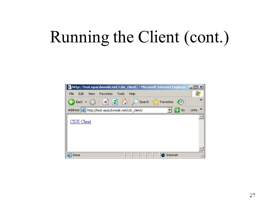Running the Client (cont.) 27