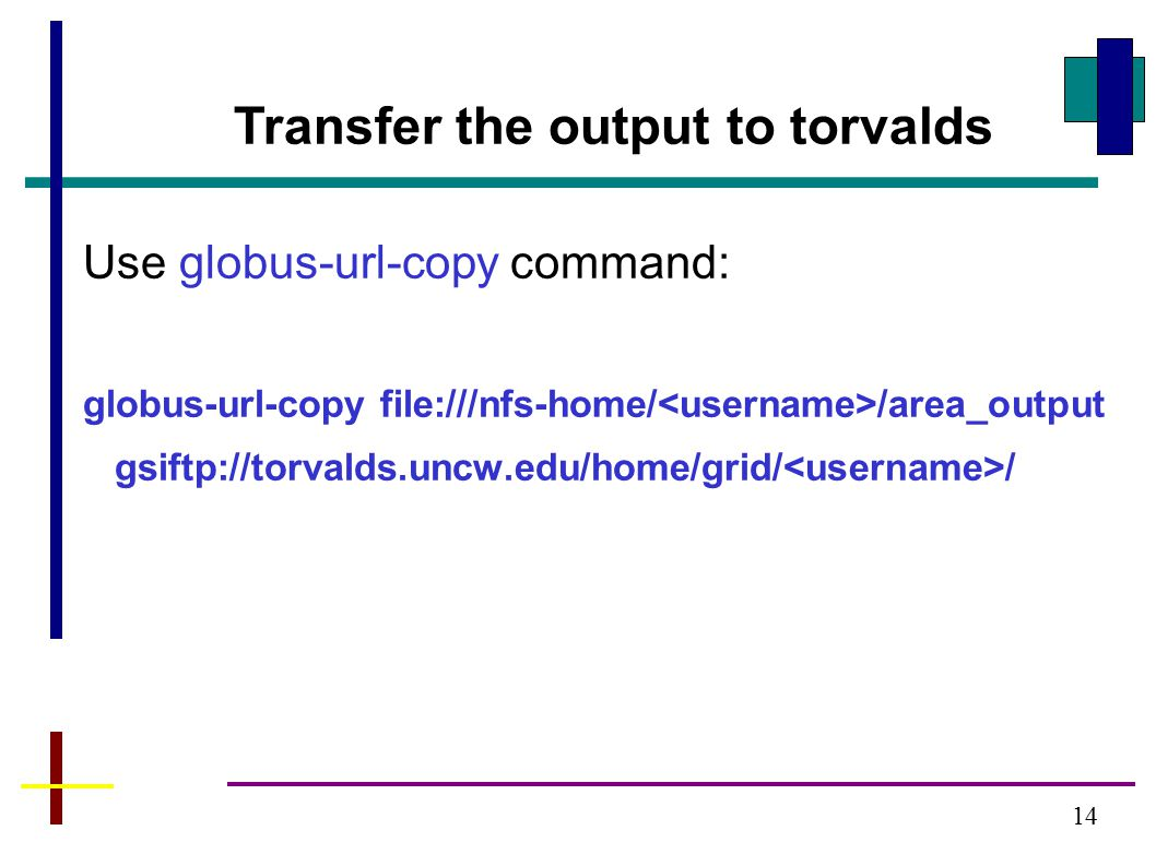 Transfer the output to torvalds Use globus-url-copy command: globus-url-copy file:///nfs-home/ /area_output gsiftp://torvalds.uncw.edu/home/grid/ / 14