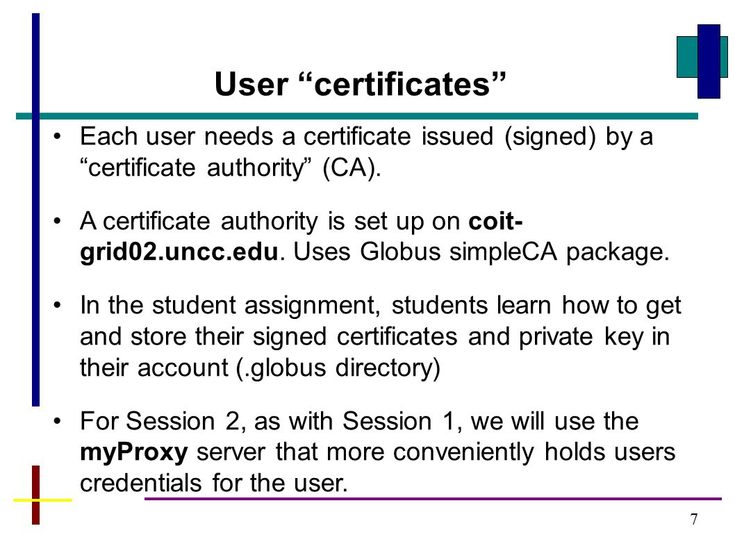 Each user needs a certificate issued (signed) by a certificate authority (CA).