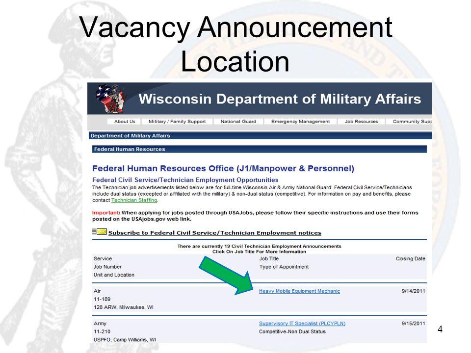 Vacancy Announcement Location 4