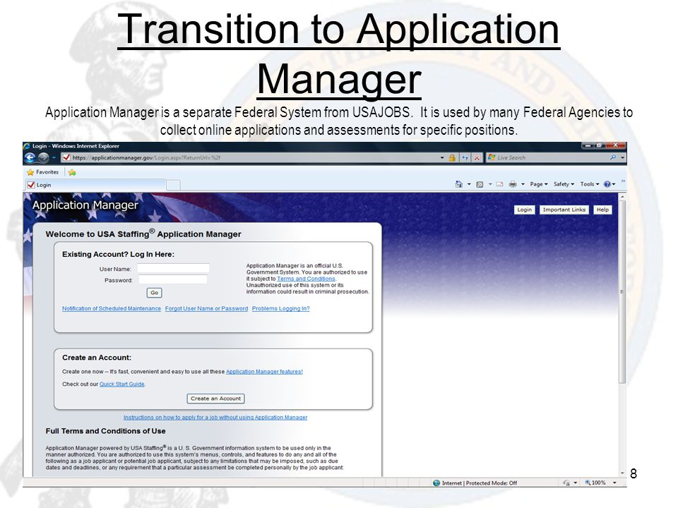 Transition to Application Manager Application Manager is a separate Federal System from USAJOBS.