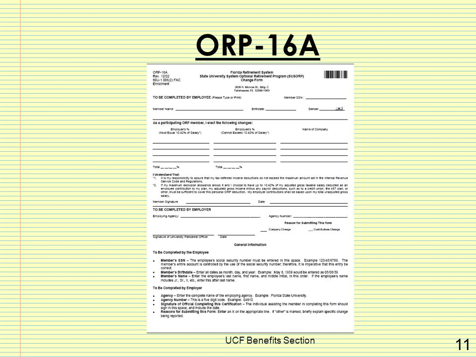 UCF Benefits Section 11 ORP-16A