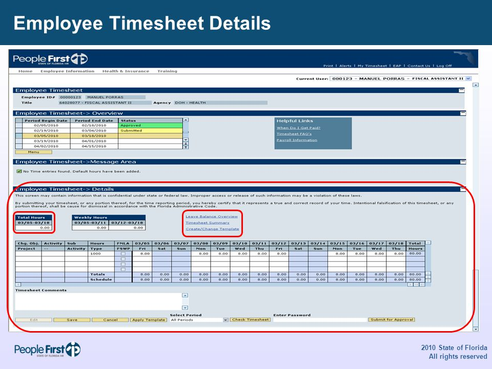 Employee Timesheet Details 2010 State of Florida All rights reserved