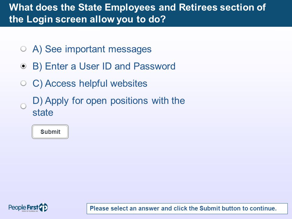 What does the State Employees and Retirees section of the Login screen allow you to do.
