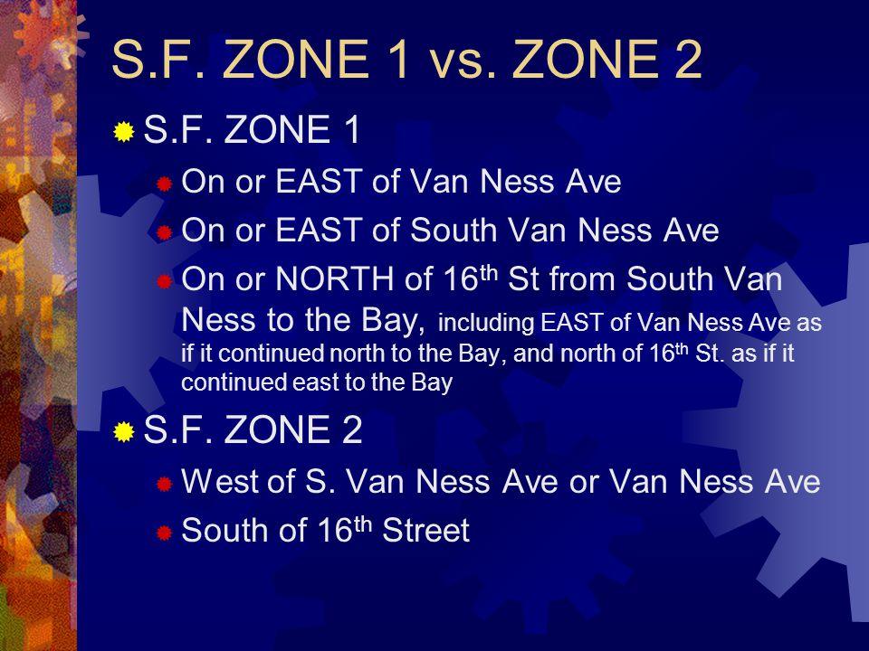 S.F. ZONE 1 vs. ZONE 2  S.F.