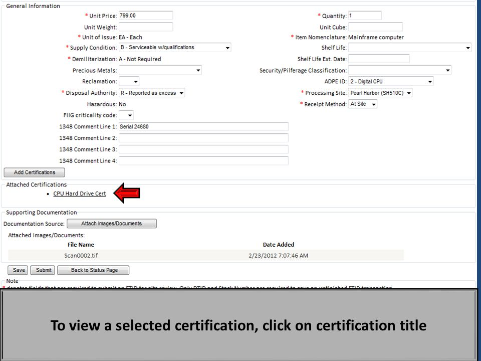 To view a selected certification, click on certification title