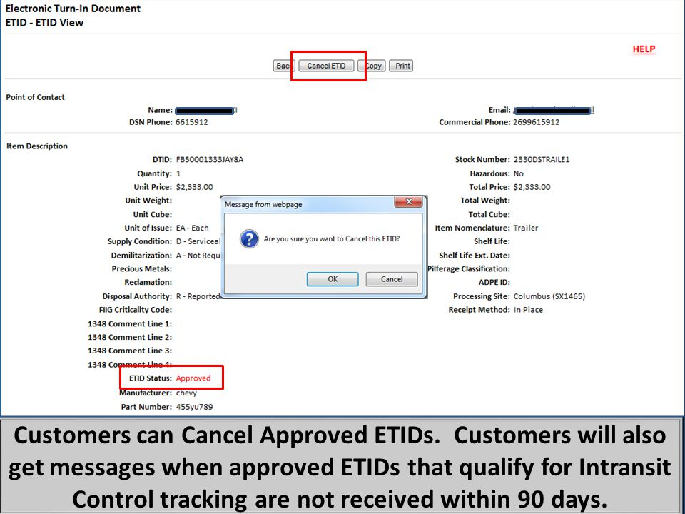 Customers can Cancel Approved ETIDs.