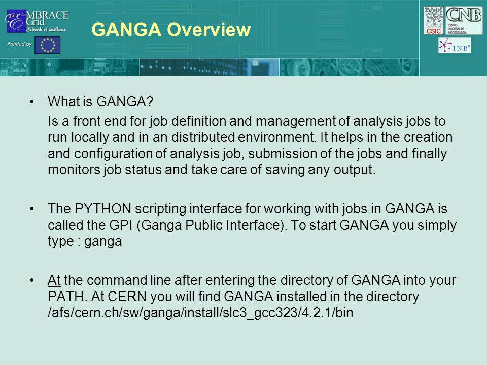 GANGA Overview What is GANGA.