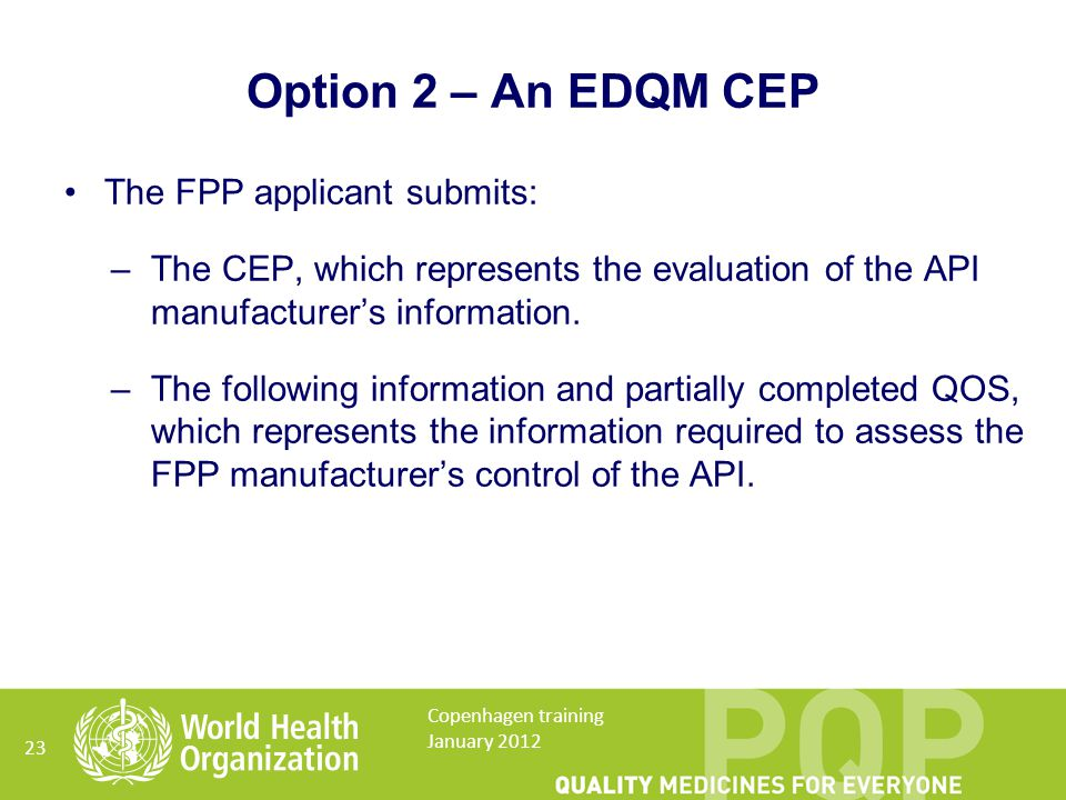 The FPP applicant submits: –The CEP, which represents the evaluation of the API manufacturer's information.