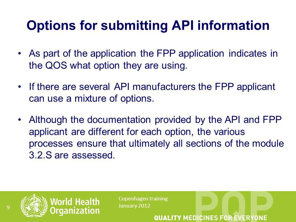 Option 1 Confirmation of API Prequalification document (CPQ) 10 Copenhagen training January 2012