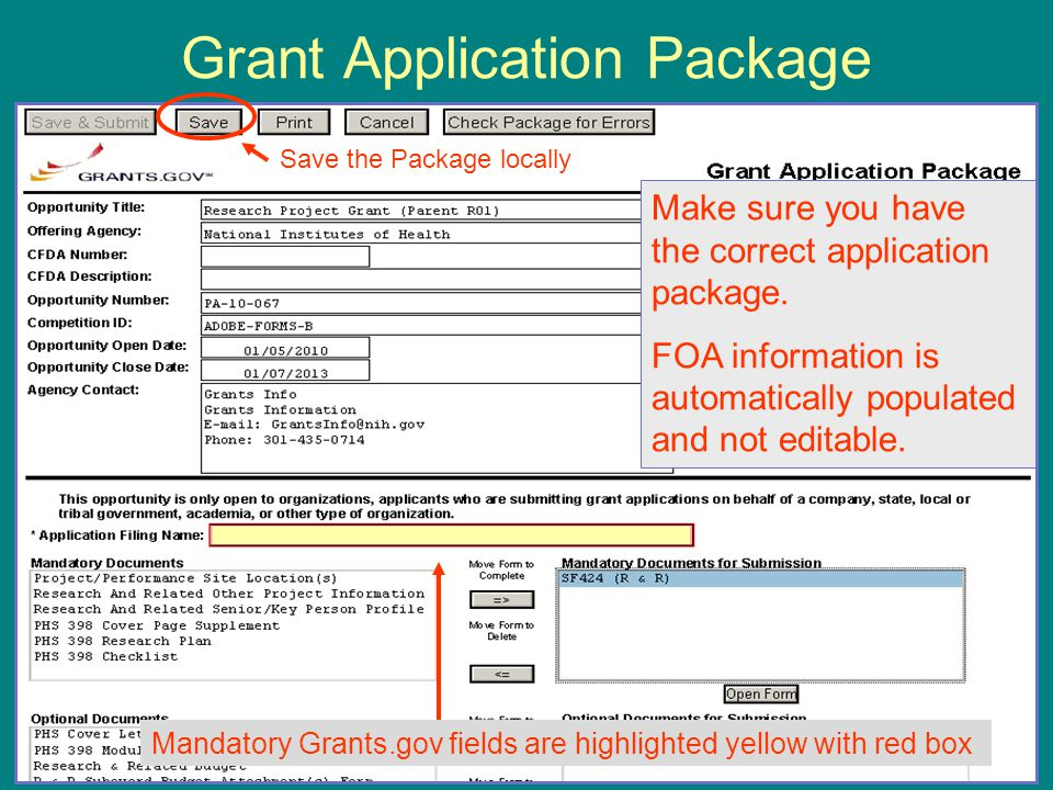 Grant Application Package Save the Package locally Make sure you have the correct application package.