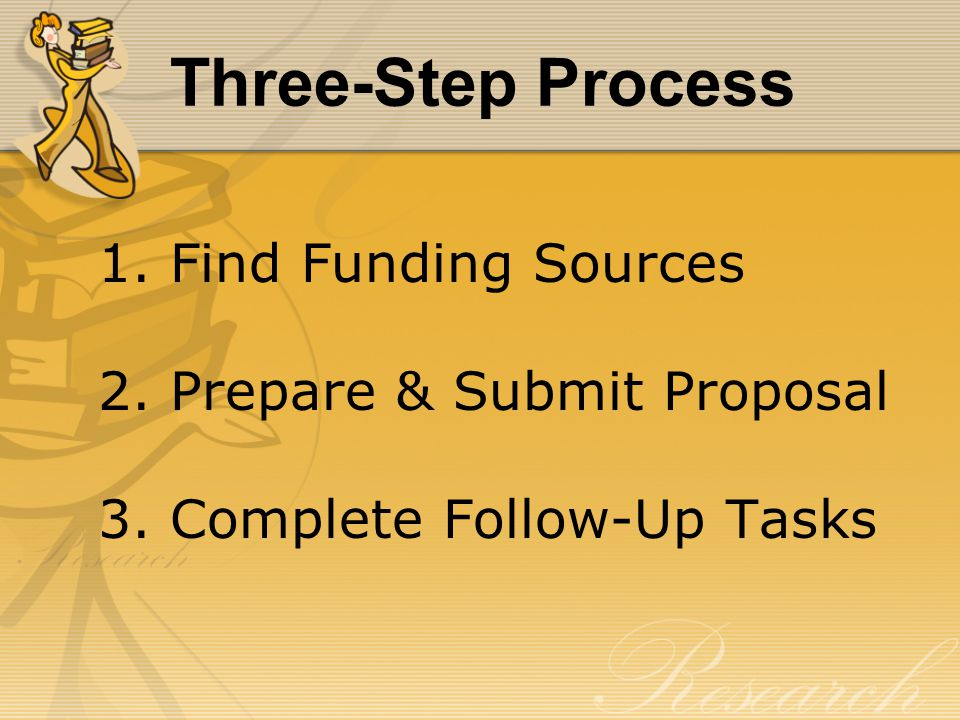 Three-Step Process 1. Find Funding Sources 2. Prepare & Submit Proposal 3. Complete Follow-Up Tasks