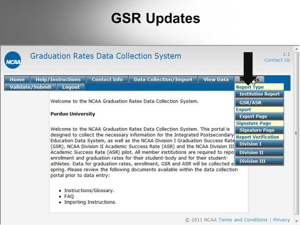 GSR Updates  Screen shot of draft report.