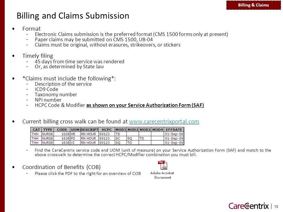 | 10 Billing and Claims Submission Format - Electronic Claims submission is the preferred format (CMS 1500 forms only at present) - Paper claims may be submitted on CMS 1500, UB-04 - Claims must be original, without erasures, strikeovers, or stickers Timely filing - 45 days from time service was rendered - Or, as determined by State law *Claims must include the following*: - Description of the service - ICD9 Code - Taxonomy number - NPI number - HCPC Code & Modifier as shown on your Service Authorization Form (SAF) Current billing cross walk can be found at www.carecentrixportal.comwww.carecentrixportal.com - Find the CareCentrix service code and UOM (unit of measure) on your Service Authorization Form (SAF) and match to the above crosswalk to determine the correct HCPC/Modifier combination you must bill.